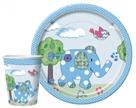 Комплект одноразовой посуды и салфеток Лоскутный слон