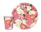 Комплект одноразовой посуды и салфеток Розовый Букет.